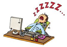 Fumetto di un addormentato caduto uomo davanti al computer Fotografia Stock