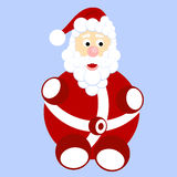 Fumetto divertente Santa Claus con la borsa con i regali illustrazione di stock