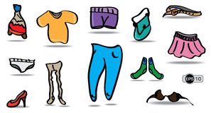 Fumetto e vestiti variopinti impostati Fotografia Stock Libera da Diritti