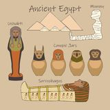 Fumetto egiziano antico degli accessori di sepoltura messo con i nomi illustrazione di stock