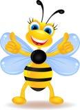 Fumetto felice dell'ape con il segno in bianco Fotografie Stock Libere da Diritti