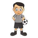 Fumetto fine di bianco dell'arbitro di calcio Fotografia Stock