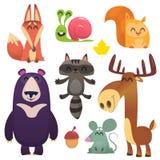 Fumetto Forest Animals Set Progettazione piana delle illustrazioni di vettore illustrazione vettoriale