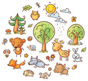 Fumetto Forest Set royalty illustrazione gratis