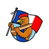 Fumetto francese delle baguette e di Eagle Holding Flag illustrazione di stock