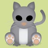 Fumetto Gray Cat Sitting Isolated sveglio di vettore Immagine Stock Libera da Diritti