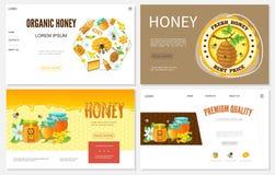 Fumetto Honey Websites Set illustrazione di stock