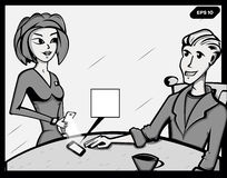 fumetto Illustrazione di vettore Retro stile di Pop art Un impiegato segue una farfalla Fotografia Stock