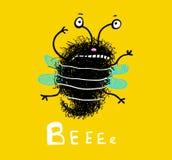 Fumetto lanuginoso sveglio di scarabocchio dell'ape illustrazione vettoriale