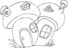 Fumetto leggiadramente della Camera del fungo di stile di scarabocchio Fotografie Stock