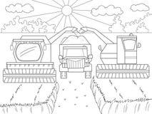 Fumetto, libro da colorare per i bambini Raccolta di autunno del grano Macchinario agricolo Mietitrebbiatrice e kamaz illustrazione vettoriale