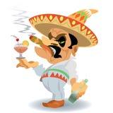 Fumetto manualmente dipinto, digitalmente rimasterizzato, messicano dell'uomo illustrazione vettoriale