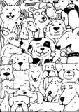 Fumetto molti cani illustrazione di stock