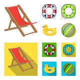 Fumetto multicolore del cerchio di nuoto, icone piane nella raccolta dell'insieme per progettazione Azione differenti di simbolo  Immagine Stock