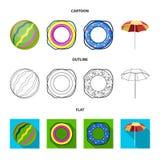 Fumetto multicolore del cerchio di nuoto, profilo, icone piane nella raccolta dell'insieme per progettazione Simbolo differente d Immagine Stock