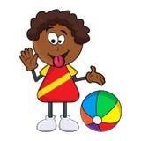 Fumetto nero africano del ragazzo che mostra lingua con il isolat del beach ball Immagine Stock