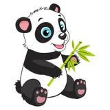 Fumetto Panda Eats Bamboo Branch Piccolo orso divertente Panda Vector Image Immagini Stock Libere da Diritti