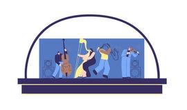 Fumetto piano della gente classica di musica di scena di concerto illustrazione vettoriale