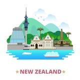 Fumetto piano s del modello di progettazione del paese della Nuova Zelanda Immagini Stock
