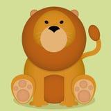Fumetto piccolo Lion Sitting Isolated sveglio di vettore Fotografia Stock Libera da Diritti
