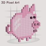 Fumetto piggy arte del pixel 3D Illustrazione Vettoriale