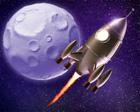 Fumetto Rocket Flying Through Space Fotografie Stock Libere da Diritti