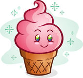 Fumetto rosa del cono gelato Immagini Stock