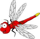 Fumetto rosso divertente della libellula Immagini Stock