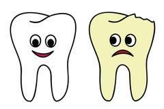 Fumetto sano e rotto del dente illustrazione vettoriale