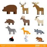Fumetto selvaggio dell'animale domestico dell'azienda agricola dell'icona piana di vettore Fotografia Stock Libera da Diritti