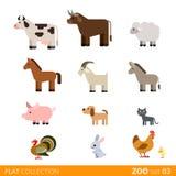 Fumetto selvaggio dell'animale domestico dell'azienda agricola dell'icona piana di vettore Fotografia Stock