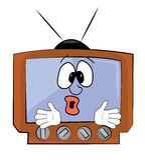 Fumetto sorpreso della TV Immagini Stock Libere da Diritti