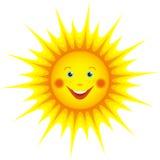 Fumetto sorridente del sole isolato sopra bianco Fotografie Stock