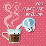 Fumetto sorridente sulla tazza di caffè e sulla scrematrice del caffè Immagine Stock