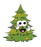 Fumetto spaventato dell'albero di Natale Immagini Stock Libere da Diritti