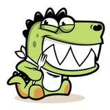 Fumetto sveglio affamato dell'alligatore con la forcella Fotografia Stock Libera da Diritti