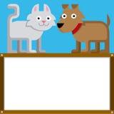 Fumetto sveglio Cat And Dog With Space per testo Fotografia Stock