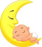 Fumetto sveglio del bambino che dorme sulla luna Fotografia Stock Libera da Diritti