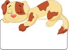 Cane Che Dorme Disegno.Fumetto Sveglio Del Cane Che Dorme Sull Etichetta In Bianco Bianca