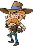 Fumetto sveglio del cowboy con i baffi Immagini Stock Libere da Diritti