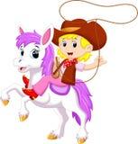 Fumetto sveglio del cowgirl illustrazione di stock