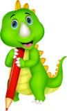 Fumetto sveglio del dinosauro che tiene matita rossa Fotografia Stock Libera da Diritti