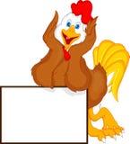 Fumetto sveglio del gallo con il segno in bianco Fotografie Stock Libere da Diritti