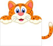 Fumetto sveglio del ghepardo con il segno in bianco Fotografia Stock