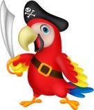 Fumetto sveglio del pirata del pappagallo Immagine Stock