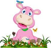 Fumetto sveglio dell'ippopotamo con i fiori Fotografia Stock