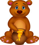 Fumetto sveglio dell'orso con miele Fotografia Stock