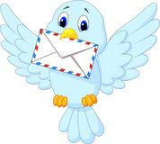 Fumetto sveglio dell'uccello che consegna lettera Fotografia Stock Libera da Diritti