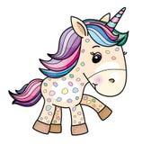 Fumetto sveglio dell'unicorno del bambino di vettore royalty illustrazione gratis