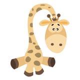 Fumetto sveglio della giraffa isolato su fondo bianco Immagini Stock Libere da Diritti